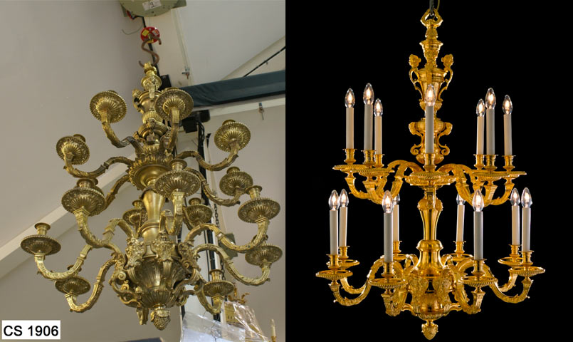 Restored large gilded 19th century chandelier