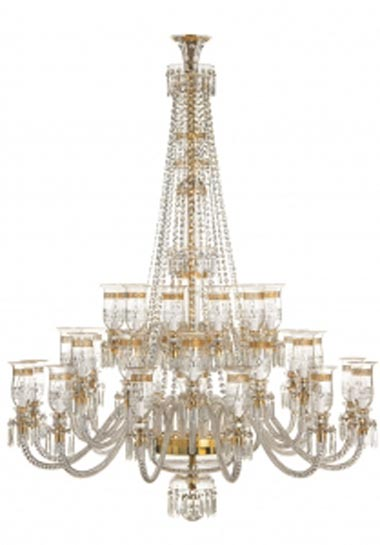 Thistle 36 light Gold chandelier with shades