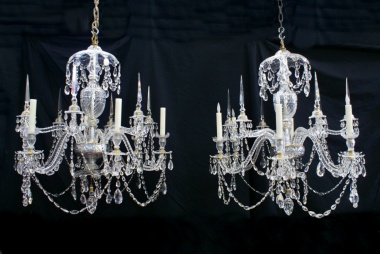 Pair of 12 branch Adam style chandeliers