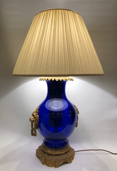 Gilt and blue glass lamp