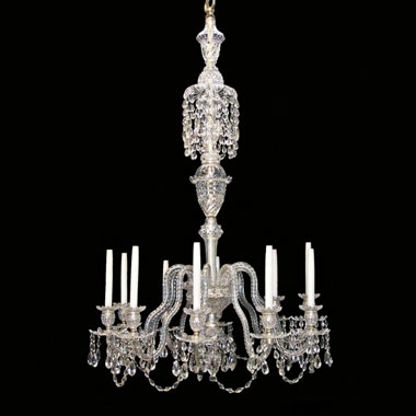 10 'double kink' arm crystal chandelier