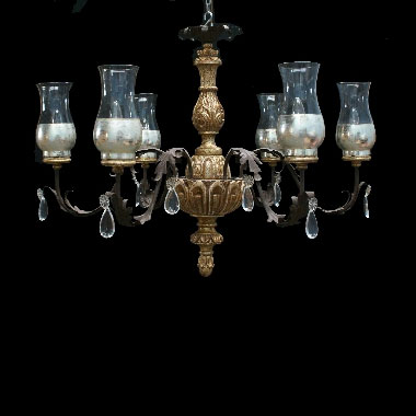 Carved wood and iron chandelier