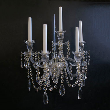 Pair of hybrid Victorian crystal wall lights